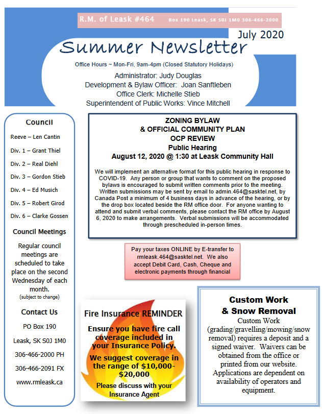 Summer Newsletter Page 1