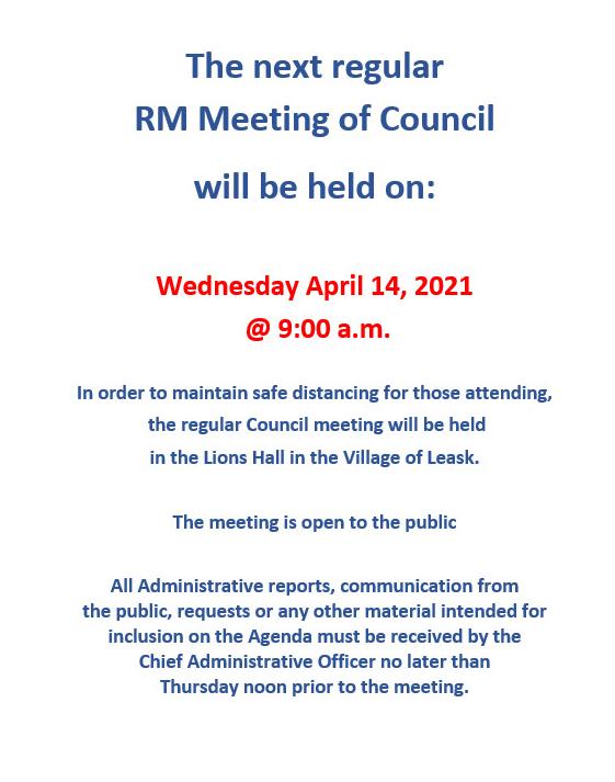 Next Council Meeting