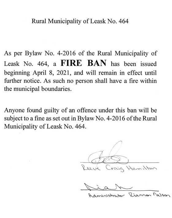 Fire Ban - Effective Immediately